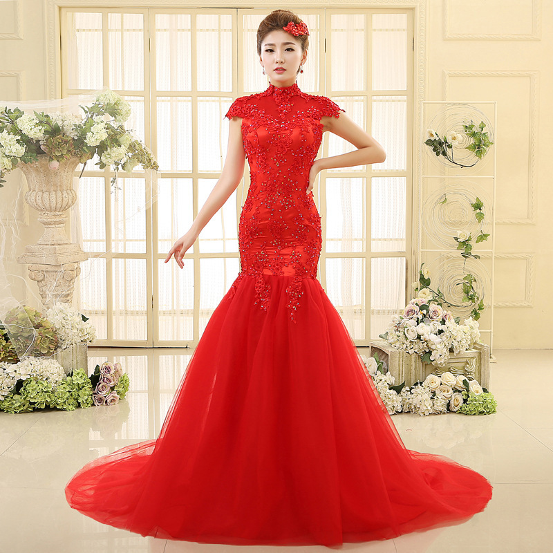 2016 New Arrival Red Vintage vestido de noiva lace mermaid wedding ...