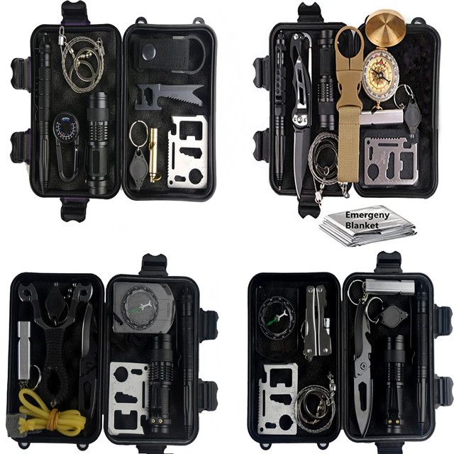 10 in 1 survival kit Set Outdoor EDC Camping equipment Travel Multifunction First aid SOS Emergency Supplies Tactical+slingshot 1