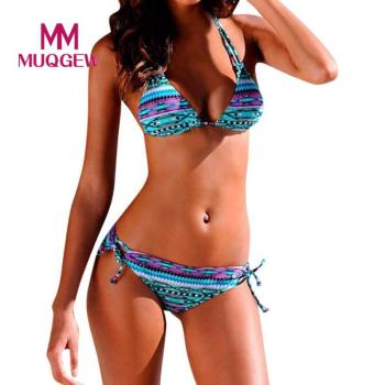 Bikini Set Women Halter Brazilian Bottom Summer Printed Swimsuit
