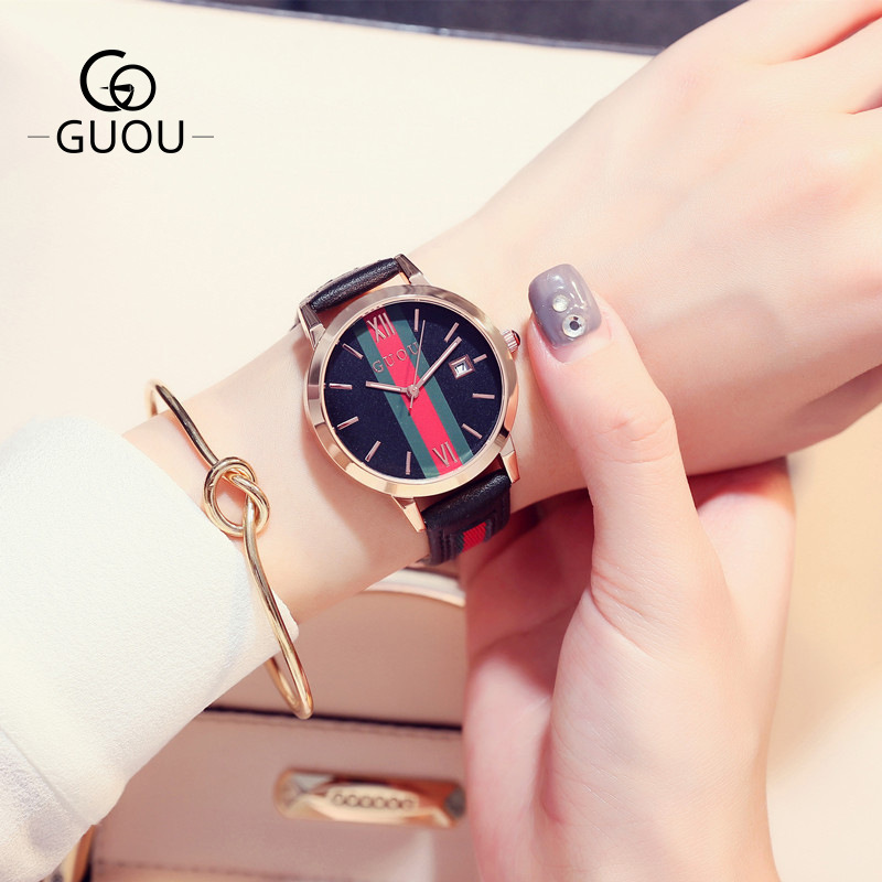GUOU Luxury Brand Quartz Watch Women Ladies Leather Watches Fashion Dress Wristwatch Clock Hodinky Montre Femme Relogio Feminino carbon fiber pattern brand watch box black pu leather watch display boxes with lock fashion men s women s storage gift box c032