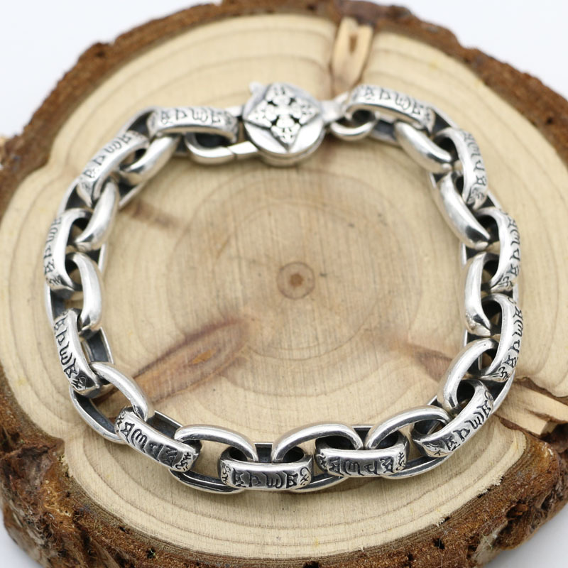 Authentic S925 Sterling Silver Men And Women Retro Thai Silver Six Words Bracelets Fashion People Punk