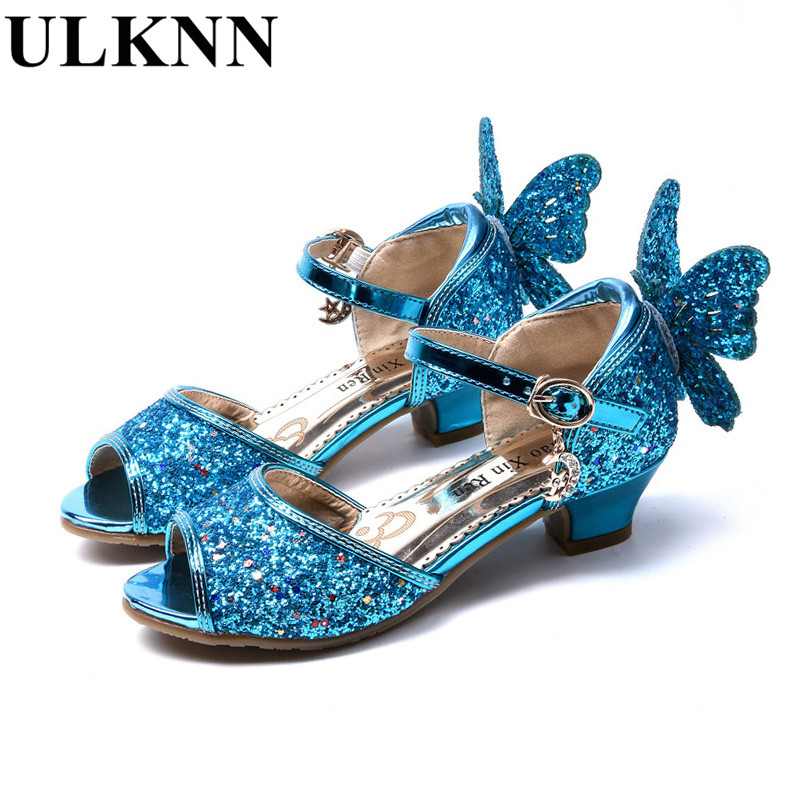 ULKNN Girls sandals Summer 2018 new children's high heels Princess fish mouth open toe cute little girl sandals size 26-37 pink