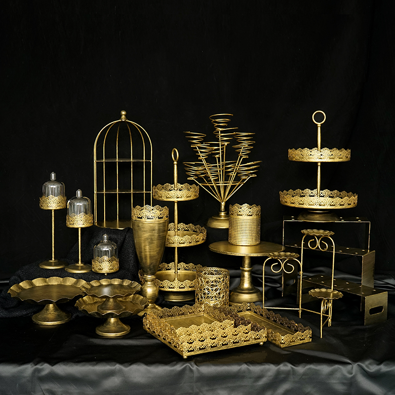 SWEETGO 1 Piece Vintage Gold Cake Cupcake Trays Birdcage Wedding Cake Tools Home Decoration Bar Dessert Table Party Supplier