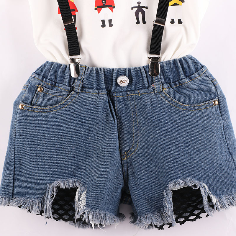 girls clothes sets 2018 new T shirt Cartoon guard pattern with Strap denim shorts cute N kids clothes sets 2 7Y in Clothing Sets from Mother Kids