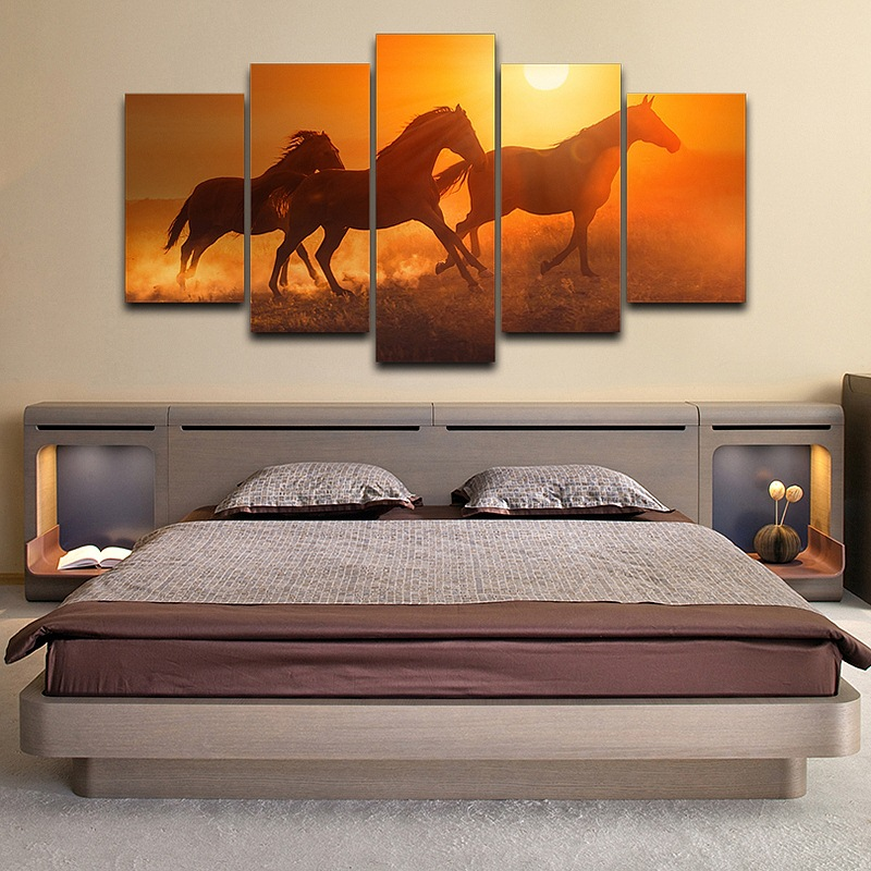 Wall Canvas Art Painting Poster For Room Home Decor 5 Panel Pictures Sunset Animal Horses Modern HD Printed Photo For LivingRoom