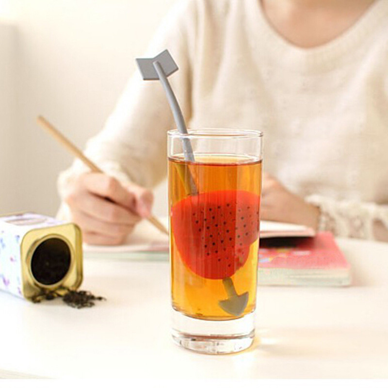 1 Pcs Red Love Heart Tea Strainers Teaspoon Filter Infuser Plastic Tea Bags Filter Tools Free Shipping