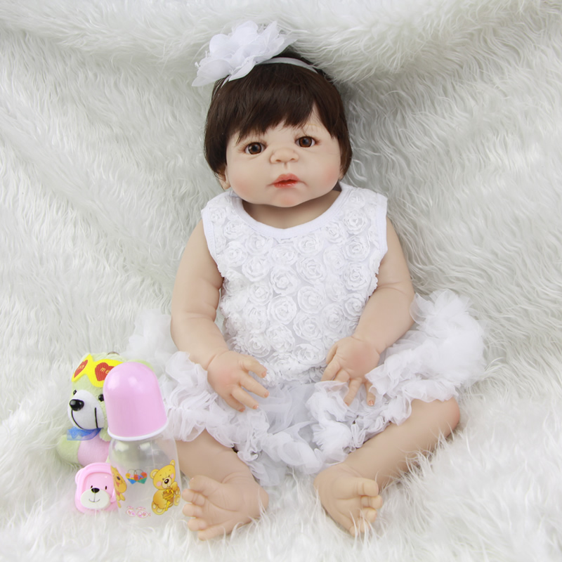 Can Sit And Lie Princess Girl Baby Doll 23 Inch Lifelike Full Silicone Vinyl Reborn Babies Toy With White Dress Kids Playmate lifelike american 18 inches girl doll prices toy for children vinyl princess doll toys girl newest design