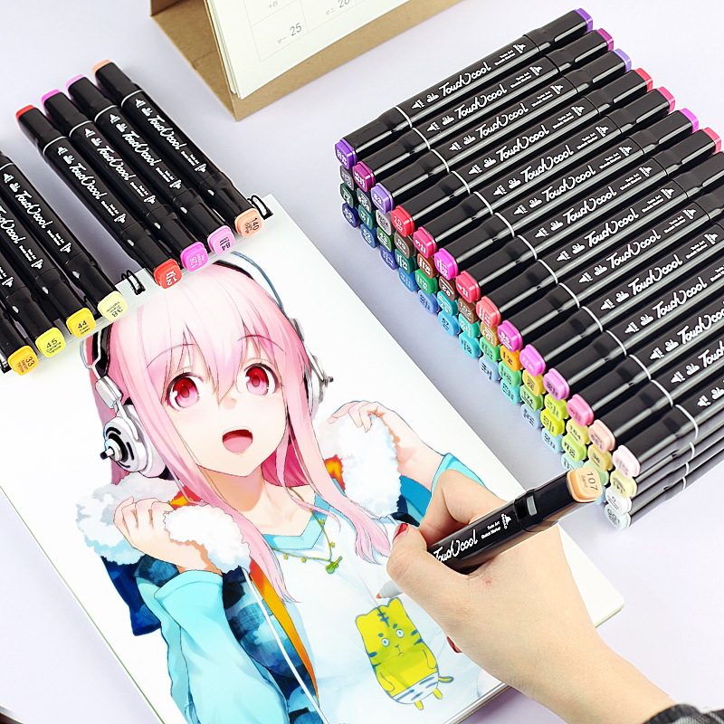 168 Color Dual Brush Art Markers Brush Pen Sketch Alcohol Based Markers Oily Dual Head Manga Drawing Pens Art Supplies