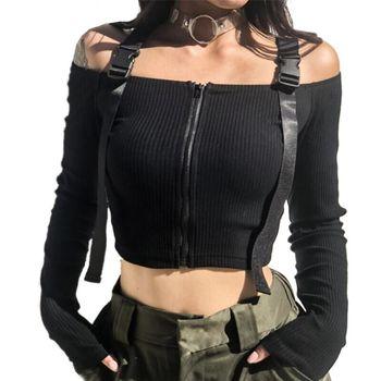 Spring T Shirt Women Long Sleeve T-shirt Crop Top 2020 Korean Fashion Style Feminina Knitted Cotton Black Sexy Short tshirt 1