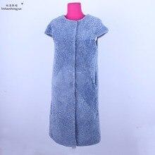 Linhaoshengyue  women fashion Sheeps cashmere fur vest Real big shoulder