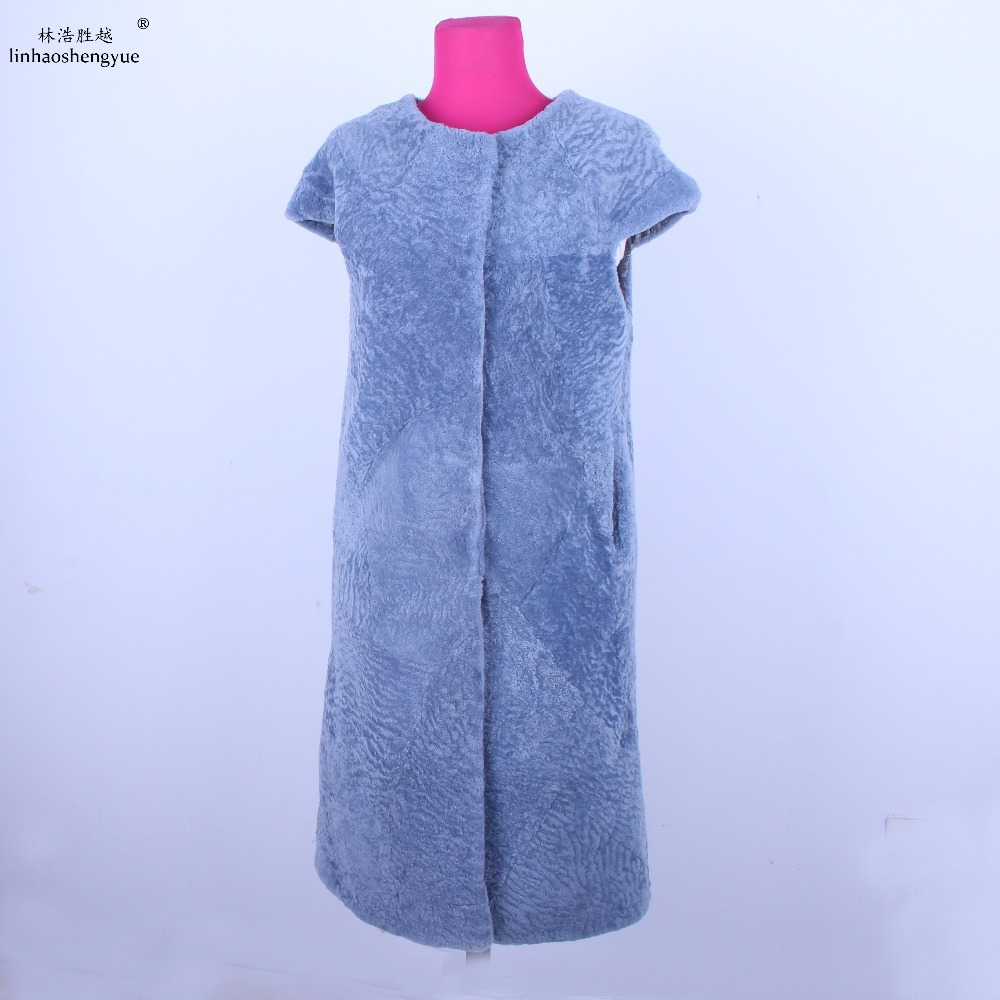 Linhaoshengyue 여성 패션 양 캐시미어 모피 조끼 진짜 모피 큰 어깨 조끼-에서리얼 퍼부터 여성 의류 의  그룹 1