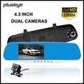 rearview mirror car dvr 1080p dash cam dual lens HD car camera recorder 4.3 inch video registrator G-sensor vehicle black box