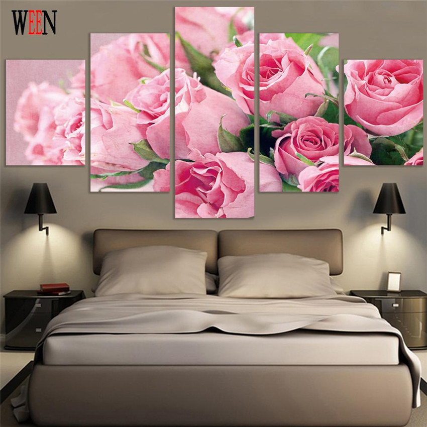 WEEN Framed 5 canvas Pink Flower Picture HD Printed Rose Wall Art ...