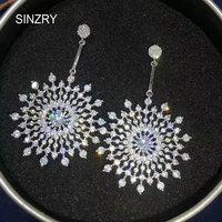 SINZRY Elegant Jewelry Cubic Zirconia Big Snowflake Dangle Earrings Lady Brilliant Evening Trendy Earrings For Women