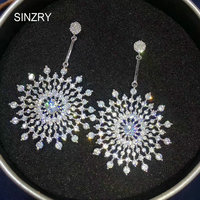 SINZRY Elegant Jewelry Cubic Zirconia Big Snowflake Dangle Earrings Lady Brilliant Evening Trendy Earrings For Women