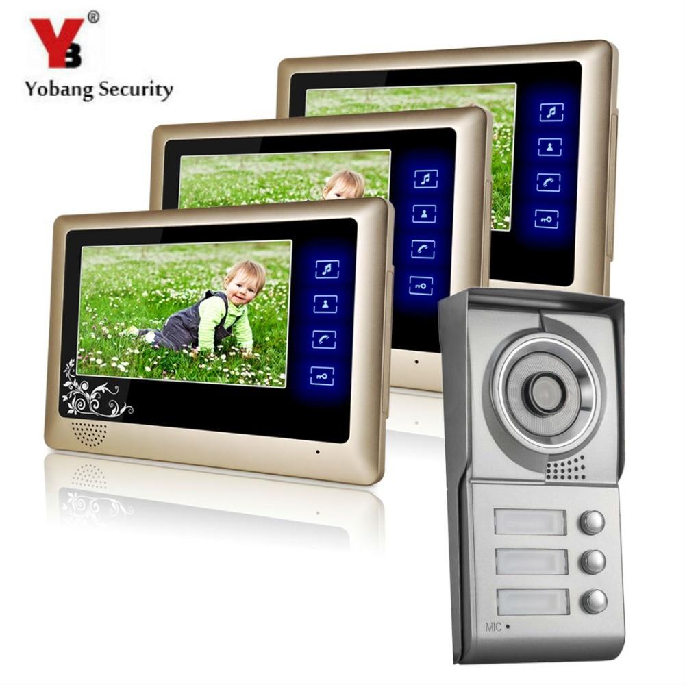Yobang безопасности-7 дюймов Видеодомофоны Водонепроницаемый multi апартаменты Строительство Вилла видео домофон ИК Ночное видение двери Камер...