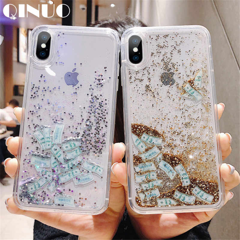 QINUO Creative dollar quicksand Case For iPhone X XS Max XR Clear TPU+PC  Case ed861a5965dd