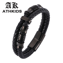Punk Men Bracelet Genuine Braided Leather Black/Silver Stainless Steel Magnetic Clasp Gifts PD518