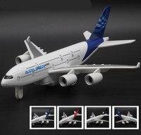 ハイシミュレーションボーイングa380旅客機モデル、1: 350合金引き戻す航空機モデル、ミュージカル&点滅玩具飛行機
