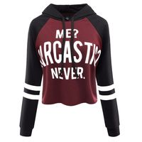 Women Autumn Spring Casual Hoodie Crop Sweatshirt Jumper Letters Printed Short Style Pullover Tops