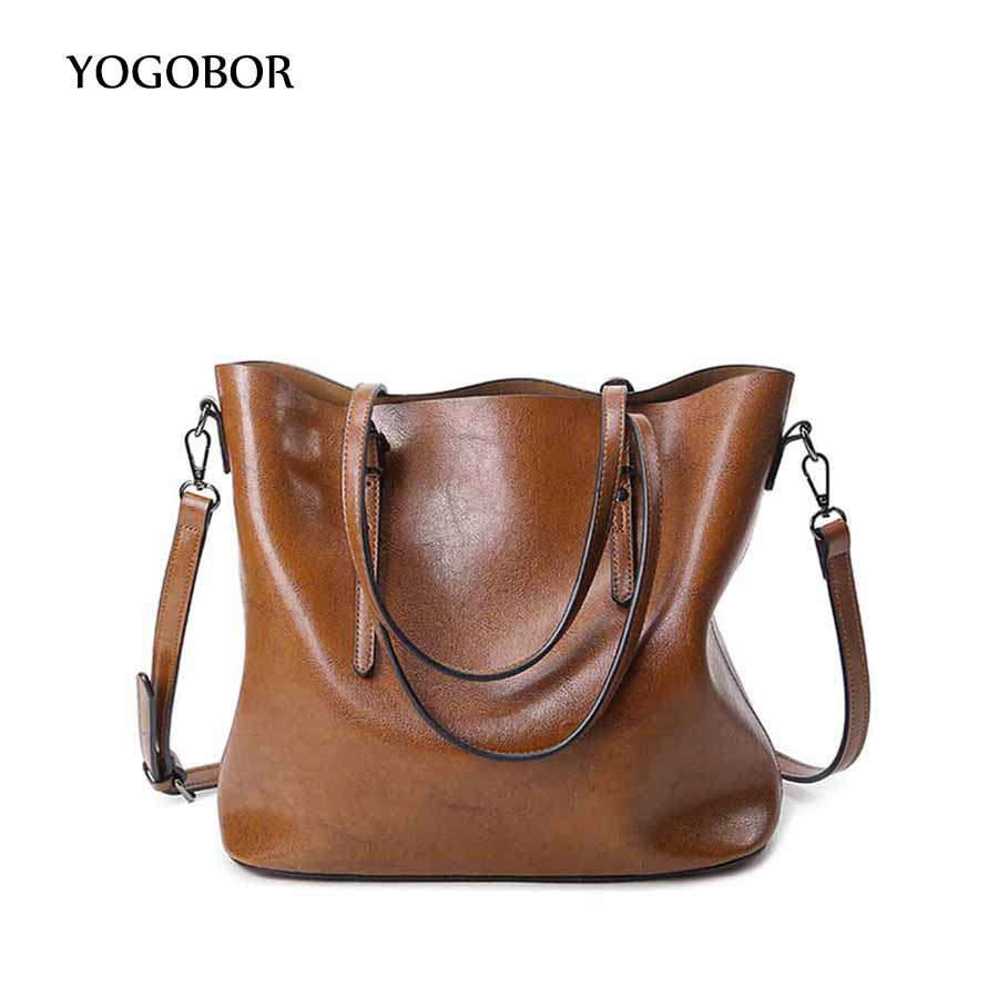 ФОТО YOUGOBOR Brand 2017 Fashion Women Handbag PU Women Bag Large Capacity Oil Wax Leather Shoulder Bag Casual Tote Bag Crossbody Bag