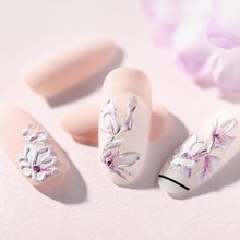 1PC 3D Acrylic Engraved Flower Nail Sticker Embossed Water Decals Empaistic Slide Manicure Nails