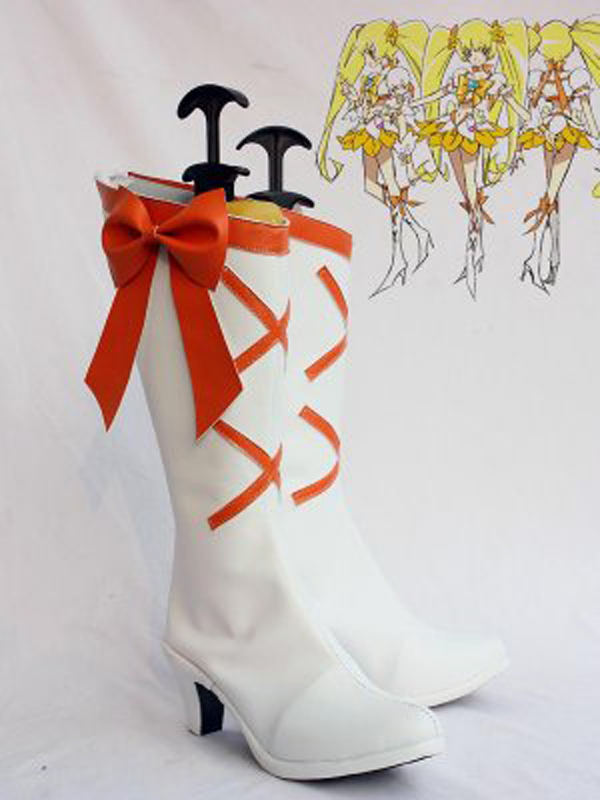 Pretty Cure Heart Catch Cure Sunshine Cosplay Boots Shoes Anime Party Cosplay Boots Custom Made for Adult Women High Heel Shoes
