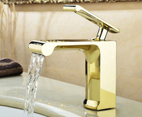 Free Shipping Golden Brass Single Handle Bathroom Basin Faucet Tap Toilet Water Faucet Hot Cold Basin