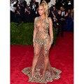 Sexy de Cristal Frisada Ver Através Beyonce Celebrity Dresses CD01 Sewn Pedras Coloridas Manga Comprida Tulle Partido Vestidos para Baile de Formatura