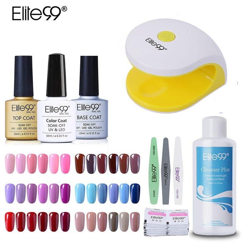 Elite99 3pcs Colorful <font><b>UV</b></font> Nail Gel Polish Set & Kit Base Gel Top <font><b>Coat</b></font> Polish Kit Set Nails Tools And LED <font><b>UV</b></font> Lamp Manicure Kit