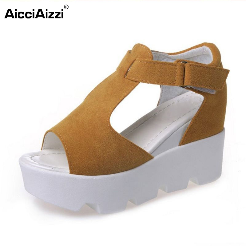 Summer New Arrived Women Wedges High Heels Sandals Peep Toe Shoe Platform Leisure Shoes Ladies Fashion Footwear Size 34-40 solar battery powered butterfly random color