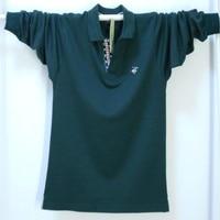 Qiu dong the plus size cotton fertilizer the collar shirt long sleeve loose collar T shirt man3 xl4xl5xl render