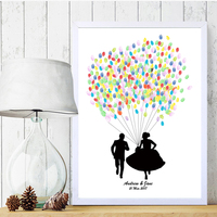 Groom Chasing Bride Personalized Fingerprint Guest Book For Engagement Party And Wedding Ceremony Ink Pad Included