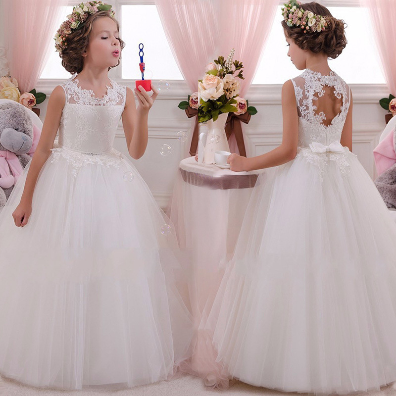 Hollow Out Children Long Dress O-neck Flower Girl Vestidos Communion Lace Gown Wedding Pageant Sleeveless Princess Dresses