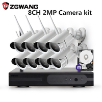 ZGWANG 8CH 2MP HD Surveillance Outdoor Monitor NIMI NVR Wireless Network IP Security Camera CCTV System