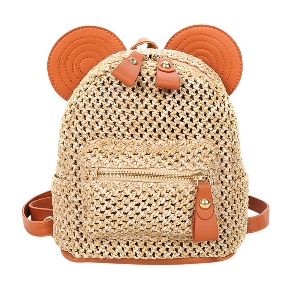 Straw Women Backpack Chain Mini Shoulder Bags Weave Hollow Beach Schoolbag Fashion Female Small Backpack Rucksack dropshipping(China)