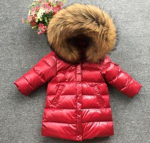 Image 3 - Classique chaud vêtements dextérieur à capuche longue vers le bas manteau marque Design enfants doudoune grand col de fourrure naturelle Parkas champagne or