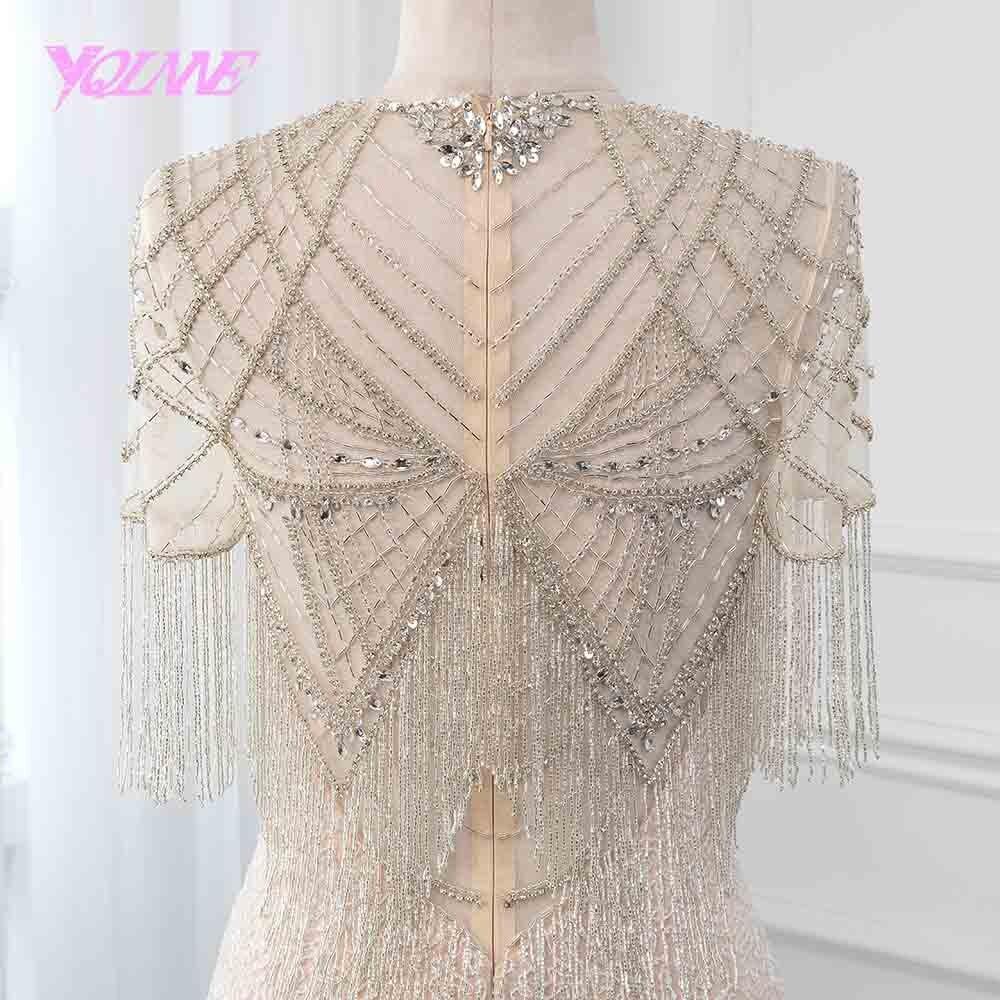 YQLNNE 2019 luxe Robe De soirée sirène Illusion perles gland Robe formelle robes De soirée Robe De soirée robes De reconstitution historique - 5