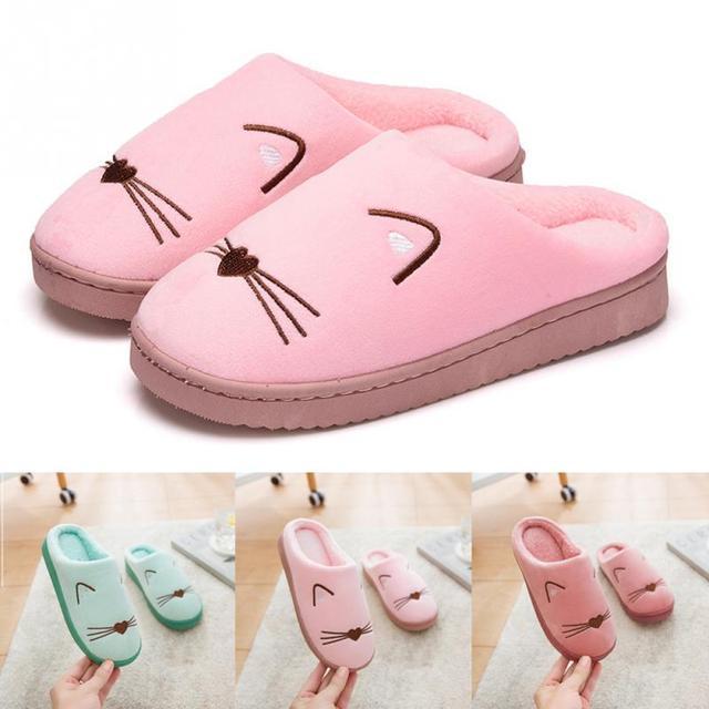9551b0db Zapatilla de algodón suave para parejas de gato súper lindo de dibujos  animados cómoda zapatilla antideslizante