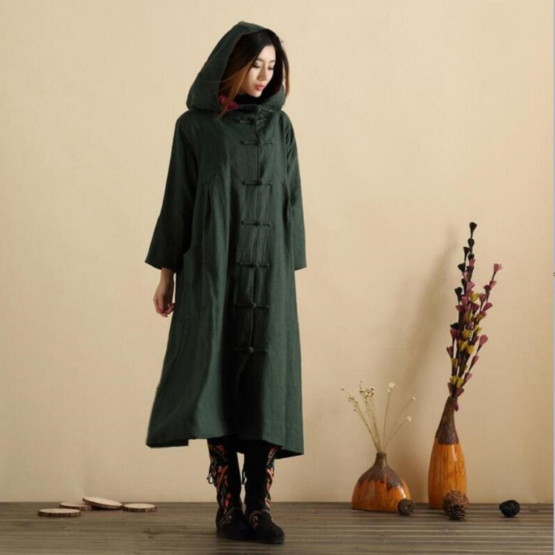 Vintage Women Hooded Cloak Jacket Coat Cotton Linen Loose Outwear Literary Long Sleeve Casual Female Clothes Retro Button MY0072