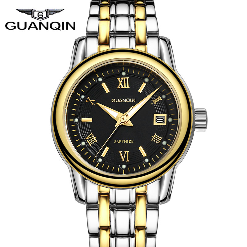 ФОТО New Luxury watch women's hot sale GUANQIN Brand quartz waterproof Complete Calendar women wristwatch Stainless Steel