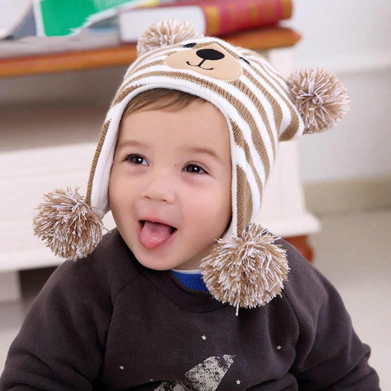 Hat Bomber-Hats Children Cap Winter Boys Kids Cute Warm Wool Patchwork Beanie Ear-Protection