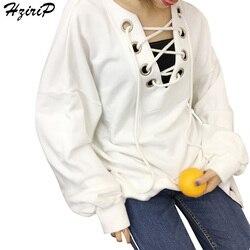Hzirip hoodies women bandage sweatshirts solid casual pullover long sleeve 2017 autumn v neck clothing fashion.jpg 250x250