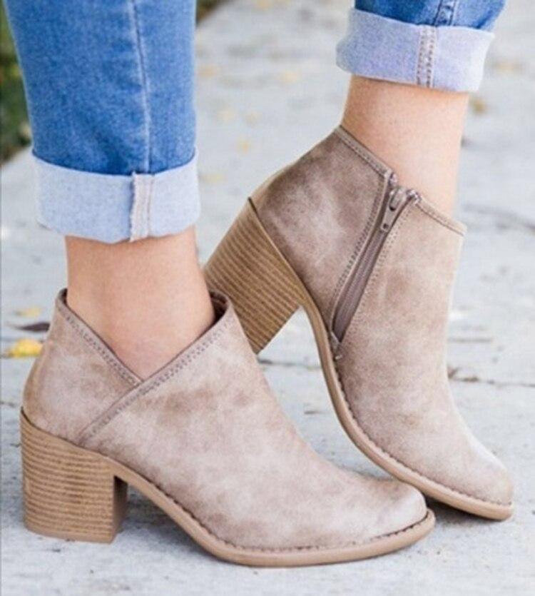 2018 Chic Herbst Frauen Schuhe Retro High Heel Stiefeletten Weibliche Block Mid Heels Casual Botas Mujer Booties Feminina Plus größe 43