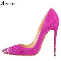 AIWEIYi Women Pumps Fashion Pointed Toe Stiletto High Heels Shoes Rivets Slip On Spring Summer Wedding Shoes Woman High Heels
