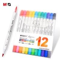M & G zwei kopf aquarell pinsel marker stifte für zeichnung farbige filze art marker liner stift schule kunst liefert schreibwaren büro