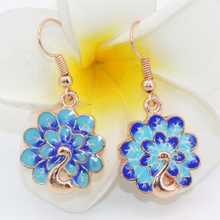 Rose gold plated cloisonne lovely 18mm carved peacock drop dangle earrings for women high quality fashion clothes jewelry B2574