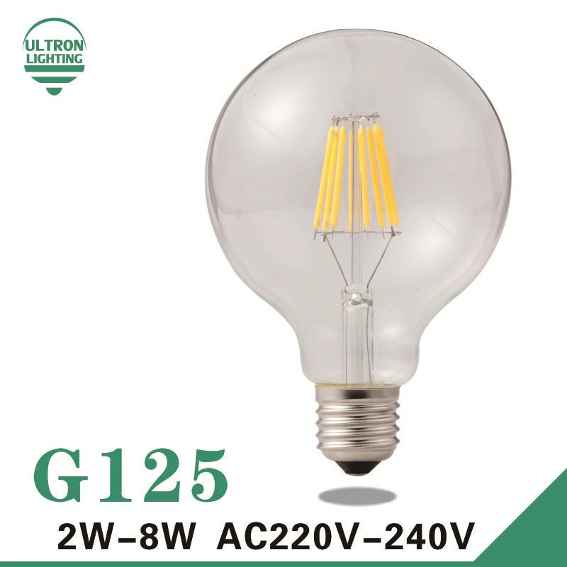 G125 Edison Bulb Big light bulb 2W 4W 6W 8W filament led bulb E27 clear glass indoor lighting lamp AC220V vintage retro lamp high brightness 1pcs led edison bulb indoor led light clear glass ac220 230v e27 2w 4w 6w 8w led filament bulb white warm white