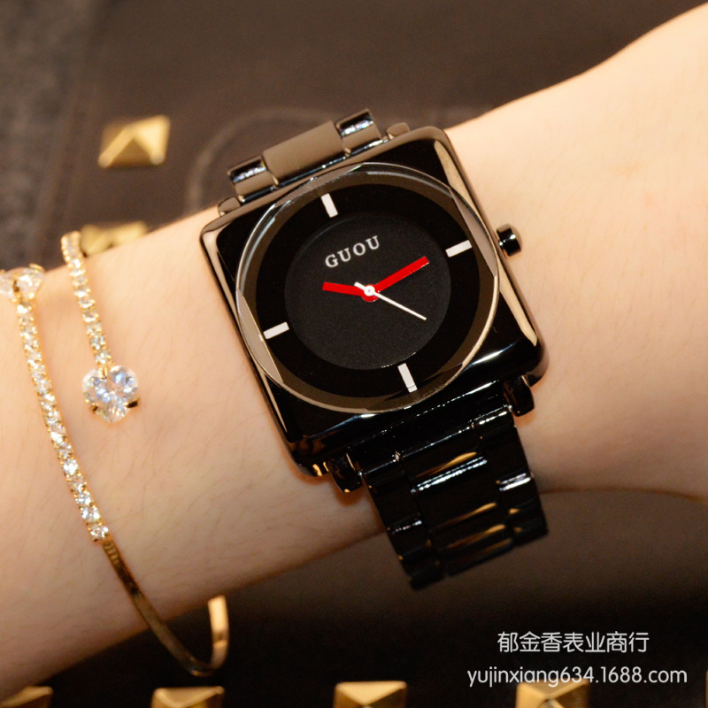 HK Brand Wristwatches Quartz-Watches High-Grade Women's Watches Rose Gold Black Stainless Steel Strap Joker Square Simple Luxury