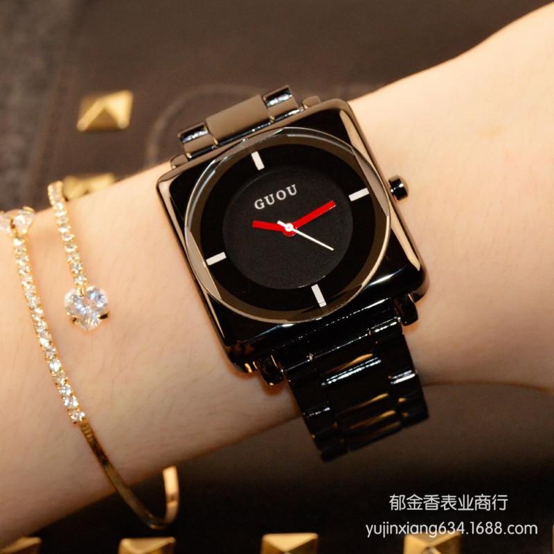 HK Marke Armbanduhren Quarz-Uhren Hochwertigen frauen Uhren Rose Gold Schwarz Edelstahl Armband Joker Platz einfache Luxus
